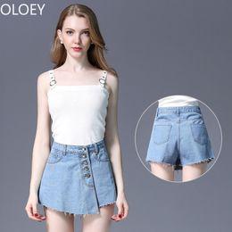 legging saia mais tamanho Desconto Cintura alta Mulheres Perna Larga Calça Jeans Botão Anti-light A Linha de Verão Denim Saia Namorado Calças Afligidas 4XL Plus Size