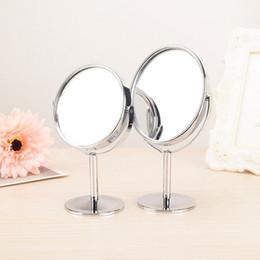 2019 espelho de maquiagem de aço inoxidável 8 cm Titular de Aço Inoxidável Make Up Espelhos 1: 2 Ampliar Dupla-Face Portátil Rotação Desk Espelho de Maquiagem Do Banheiro Ferramentas de Cosméticos desconto espelho de maquiagem de aço inoxidável
