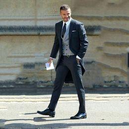 2020 военно-морской костюм итальянский Navy Blue/Black Tailcoat Long Jacket Wedding Suits For Men Slim Fit Italian Formal Tuxedos Large Dress Party Prom Suit 3 Pieces скидка военно-морской костюм итальянский