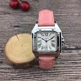 Cuir marron foncé en Ligne-2019 nouvelles montres pour dames de luxe montres femmes de la mode montre-bracelet en cuir cadran carré marron amant féminin