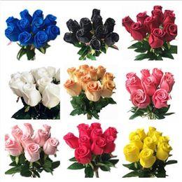 coronas de vid al por mayor Rebajas Real Touch Rose simuladas falsas de látex Rosas 43cm de largo 12 colores para la fiesta de la boda artificial decorativo Flores