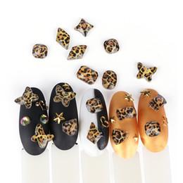 10pc / lot Rhinestones di arte del chiodo Sexy Yellow Leopard Print Diamonds Flat Back Vetro Pietre 3D Charms Unghie Decorazioni Art Suggerimenti da
