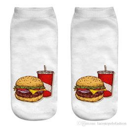 food socks Promo Codes - McDonalds Food Print Womens Socks Designer Hamburger French Fries Mens Socks Casual Couple Matching Short Hosiery