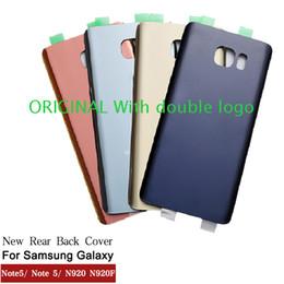 Samsung logo stickers online-Nueva ORIGINAL Puerta trasera de la batería para Samsung Galaxy Note5 Note 5 N920 N920F Volver cubierta de la carcasa de cristal con logotipo + etiqueta