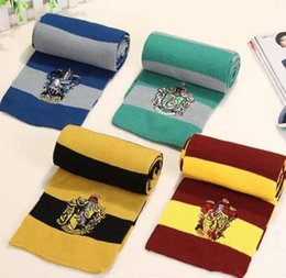 Harry potter escola lenços on-line-Harry Potter Cachecol Gryffindor Escola Unisex Lenço De Malha Listrado Gryffindor Scarve Harry Potter Lufa-lufa Cosplay