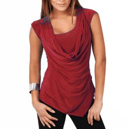 Cortina delantera online-Color sólido de las mujeres más el tamaño acanalado sin mangas de la túnica superior Drape capucha frontal camiseta al por mayor