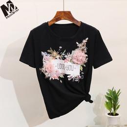 3d animale stampato animale online-MAXDIROO Donna 2019 Estate Manica corta 3d Appliques Maglietta Donna Animal Ricamo Fiori Stampa Top Divertente T Shirt