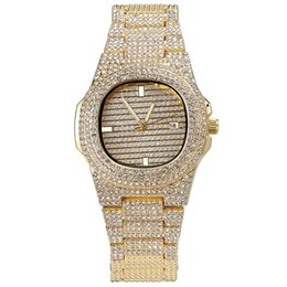 2019 braceletes de ouro branco 24k Diamante De Quartzo Relógio Pulseira Homens Hiphop Jóias Bling Cubic Zirconia Ice Out Banhado A Ouro Correntes Mens Luxo Hip Hop Elo Da Cadeia