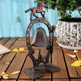 2019 métier en métal coulé Cast Iron Horse Dinner Table de Bell Service Desk de Bell Metal Craft Table Décor restaurant Ornements Parti Accueil Accessoires ancien animal Vintage métier en métal coulé pas cher