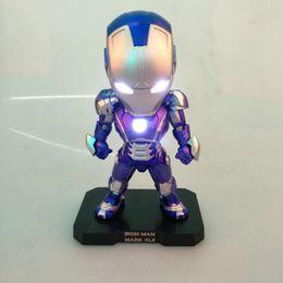 Presente de brinquedo Modelo Novo Presente Adolescente FERRO HOMEM Homem de Ferro ACE Q Edição Azul Homem De Ferro MK42 Caixa Lightable Modelo Decoração de