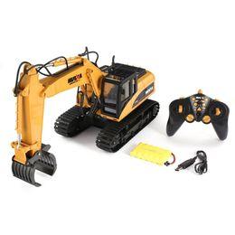 Металлические строительные машины для игрушек онлайн-HUINA 1570 16ch RC Timber Metal Grab Wood 1/14 2.4G Engineering Crawler Truck Toy RTR Car Construction Vehicle With Light