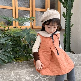 vestido de invierno de la moda de los niños coreanos Rebajas Otoño invierno bebé de las muchachas vestido del chaleco 1 2 3 4 5 6 Año Niños ropa Chaleco para chicas Moda para niños pequeños vestidos de Corea 2019