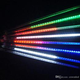 Chuveiro iluminado on-line-EUUS plug Light-emitting diode fita Luzes 30 centímetros 50 centímetros LED Natal impermeável Meteor chuveiro de chuva Tubes Luz Para Decoração do casamento 8 Tubes