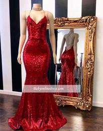Robes de bal rouge sirène en Ligne-2019 New Bright Red Mermaid Robes de bal licou paillettes Bling Bling longueur de plancher robes de soirée robes de soirée robe de novia