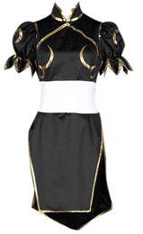 2019 robe de combat Cheongsam robe de combat supérieure de Cosplay de Street Fighter Chun Li Black pour femmes promotion robe de combat