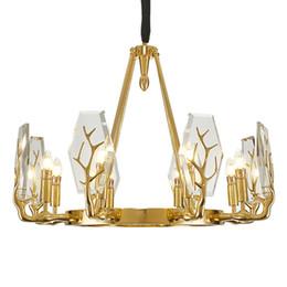 Canada Nouveau design country américain style cuivre salon lustre poste moderne simple lumière luxe villa lumières restaurant antler cristal lampes Offre