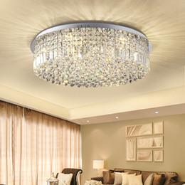 2019 plafón redondo de cristal k9 moderno Moderno K9 Led luces de techo de cristal para la sala de estar de la cocina de la cocina lámparas de techo redondas para la decoración del hogar iluminación rebajas plafón redondo de cristal k9 moderno