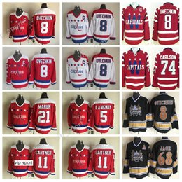 Camisetas de hockey carlson online-8 Camisetas de Alex Ovechkin 5 Rod Langway 11 Mike Gartner 21 Dennis Maruk Camisetas de hockey sobre hielo Washington Capitals Retro 74 John Carlson