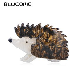 Broches de moda marrom on-line-Lucome Moda Vivid Brown Hedgehog Forma Broche Acrílico Animal Jóias Para Crianças Meninos Meninas Cachecol Corsage Pin Saco Ornamentos Blucome ...