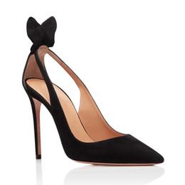 zapatos de diseño 2019 nuevos zapatos de moda dedos de los pies puntiagudos bowtie tacones altos zapatillas de vestir zapatos de tacón de aguja elegante vestido de moda desde fabricantes