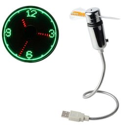 Pantallas geniales online-Mesa flexible con dispositivo USB Led Mini USB Powered LED Enfriamiento Intermitente Función de visualización en tiempo real Reloj Fan SSA200