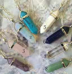 aventurine pendants Coupons - Crystal Pendant Necklaces Opalite White Howlite Lapis Clear Quartz Crystal Aventurine Crystal Pendant Good Jewelry T039