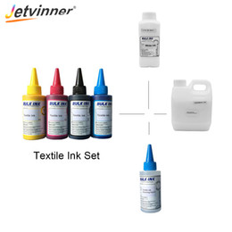 Жидкая одежда онлайн-Jetvinner Textile Ink Set for Flatbed Printer use for Clothes White Textile Ink Cleaning Liquid White Fixing Agent