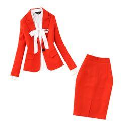 Saia de um botão on-line-Definir primavera e no verão das mulheres new fashionolprofissional commuter um botão vermelho pequeno paletó + saco hip saia dividida camisa terno