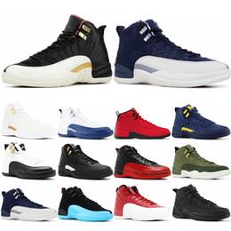 sports shoes 1705b 3b4cc weiße stiere Rabatt 12 12s Gym rot Michigan Bulls Herren Basketball-Schuhe  International Flight Flu