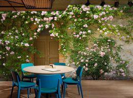 Grüne blätter tapete online-Moderne benutzerdefinierte 3d wallpaper grünes blatt rose rosen hintergrund wand 3d wallpaper wandbild wandmalerei