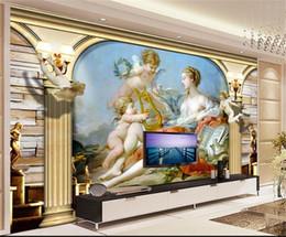 pintura a óleo Desconto Tamanho personalizado 3d foto papel de parede sala de estar quarto cama mural Little Angel Madonna Pintura A Óleo Europeia TV pano de fundo papel de parede não-tecido adesivo