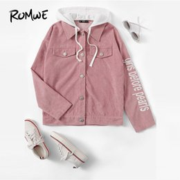 capucha chaqueta de pana Rebajas Chaqueta de pana bordada con capucha Jersey 2019 Rosa Primavera Otoño Un solo pecho exterior elegante manga larga abrigo de mujer