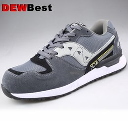 footwear construction Promo Codes - DEWBEST 2019 Men's Safety Shoes Steel Toe Construction Protective Footwear Lightweight 3D Shockproof Work Sneaker Shoes For Men