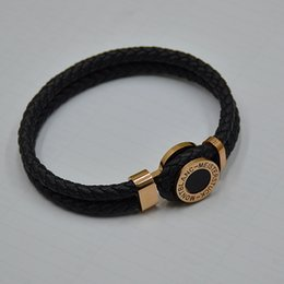 Argentina Diseño único MB Leather Woven mens Black Bracelets Toggle-broches Hombre brazaletes Joyas de lujo para regalo de festival (Sin caja) supplier bangle box design Suministro