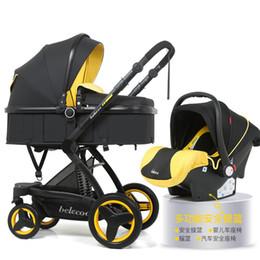 Cestas de presente bebês on-line-Bebé Paisagem Stroller 3 em 1 Hot Mom Baby Stroller Luxo assento viagem Pram Carriage Cesta de carro e 5 Presentes