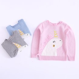 cute girls cardigans cotton Promo Codes - Cute Kids Girls Cartoon Knitted Sweater Tops Candy Pink Gray Blue Color Pull Over Spring Autumn Fashion Western Blouse Tops