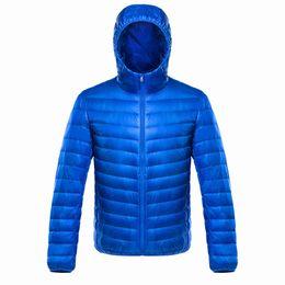 Giacche satinate online-Giacca invernale raso molle cappotto caldo MenWomen dell'anatra giù Hoded Giacca leggera solido Navy Blue Outwear Large Size 3XL 4XL