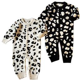 Leopard overall kinder mädchen online-Einzelhandel Baby Strampler Jungen Mädchen Langarm Baumwolle Leopard Kapuzenoverall einteilige Onesies Overalls Toddle Infant Kinder Designer-Kleidung