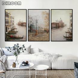 pinturas de paisajes de la ciudad Rebajas Nordic Water City Landscape Canvas Paintings Modular Wall Pictures Poster Prints Wall Art Canvas para la decoración de la sala de estar
