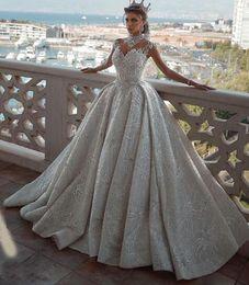 2019 свадебное платье с открытой спиной Vestidos De Noiva 2020 Роскошные арабские свадебные платья с высокой горловиной и короткими рукавами Said Mahamaid с открытой спиной и блестками Цветочные соборные свадебные платья дешево свадебное платье с открытой спиной