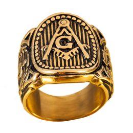 Anelli massonici di gioielli per gli uomini online-Formato libero 8-13 Anello massonico dell'annata degli uomini Massone simbolo membro gioielli in acciaio punk dell'acciaio inossidabile dell'oro