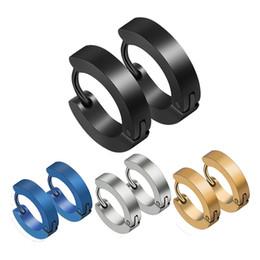 canali orecchini Sconti Orecchini a bottone blu Beichong Orecchini a bottone in acciaio inossidabile freddo per uomo Orecchini a cerchio in oro blu argento nero