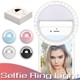 cajas de luz led Rebajas Luz LED para teléfono recargable Selfie Luz portátil ajustable Lámpara Selfie Luz del anillo de Selfie al aire libre con batería para todos los teléfonos móviles en caja al por menor