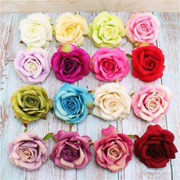 diy rose cloth Promo Codes - High quality large curled rose head wholesale hand DIY fake rose flower flower silk cloth for party mermaid supplies bedroom decor