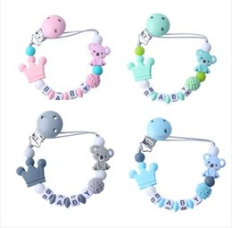 Silicone Cartoon Baby Ciuccio Clip Ciuccio Catena Dentizione Ciuccio Chew Toy Bambino Dummy Clips Baby Shower Gift cheap dummy gift da dono fittizio fornitori