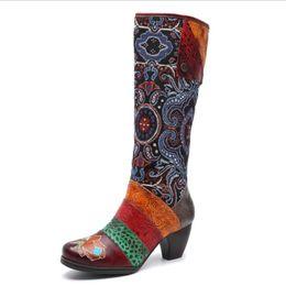 Махровые ботинки онлайн-Старинные женщины бедро высокие сапоги Сексуальная мода над коленом сапоги ручной руб высокие каблуки сторона молния толстый каблук женщина обувь