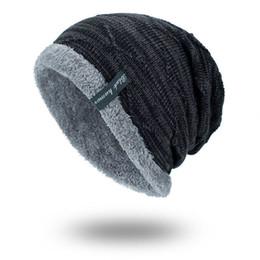 chapéus de lã para homens Desconto Moda- chapéu do inverno Knit Cap Men Caps Quente Fur Skullies Beanie Bonnet Hat Fleece Hat Knitting ST764