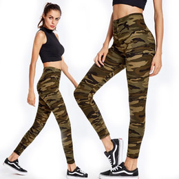 Camuflaje yoga pantalones mujeres online-Mujeres Camuflaje Fitness Deportes Leggings Moda Yoga Mallas para correr Gimnasio Leggings Pantalones de lápiz elástico alto pantalones calientes delgados TTA630