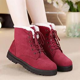 botas de tacón caliente de invierno Rebajas Botas de nieve 2019 tacones clásicos de gamuza mujer botas de invierno piel cálida felpa botines zapatos de mujer zapatos con cordones calientes mujer niñas