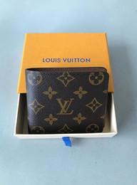 Маленький холст-кошелек онлайн-LOUIS 2019 Париж плед стиль Дизайнер мужской бумажник известные люди роскошь бумажники специальный холст несколько короткий небольшой бумажник с Двойные коробки